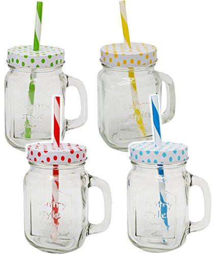 """Henkelbecher / Trinkglas - """" bunte Punkte - BUNT """" - Glas mit Strohhalm & Deckel - 450 ml - Einmachglasoptik - für Heiße & Kalte Getränke - Sommerglas mit Henkel - z.B. Limonade Erfrischung Sommer / gepunktet - Smoothie Becher Trinkglas Trinkflasche - Insektenschutz - Trinkgläser Einweckglas / Einmachglas - Glasbecher - Trinkhalm - Glühwein / gepunktet Polka Dots"""