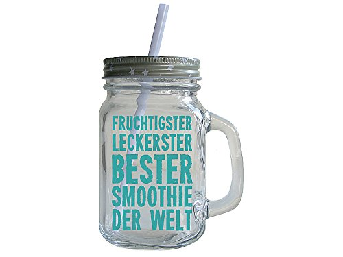 retro smoothie glas mit spruch fruchtigster leckerster smoothie. Black Bedroom Furniture Sets. Home Design Ideas