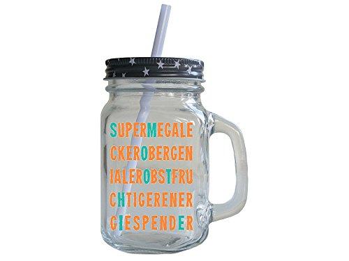 Retro Smoothie Trinkglas mit Deckel und Strohhalm SUPERMEGALECKER
