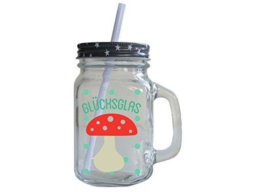 Retro Trinkglas mit Deckel und Strohhalm GLÜCKS *GLAS* Geburtstag Smoothie Henkel