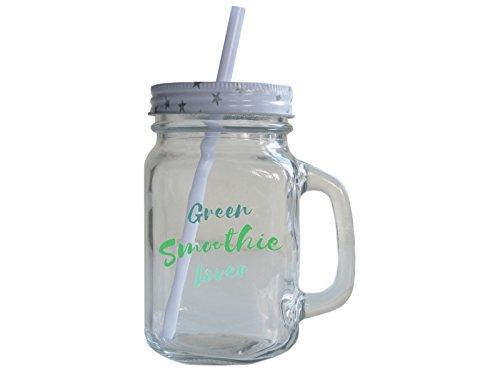 Retro Trinkglas mit Deckel und Strohhalm GREEN SMOOTHIE LOVER Henkelglas Vintage