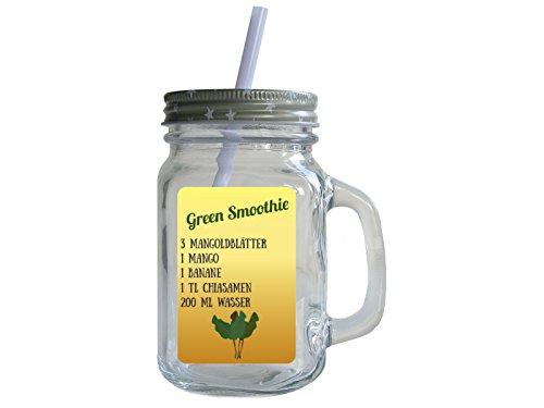 Retro Trinkglas mit Deckel und Strohhalm GREEN SMOOTHIE * MANGOLD * Rezept