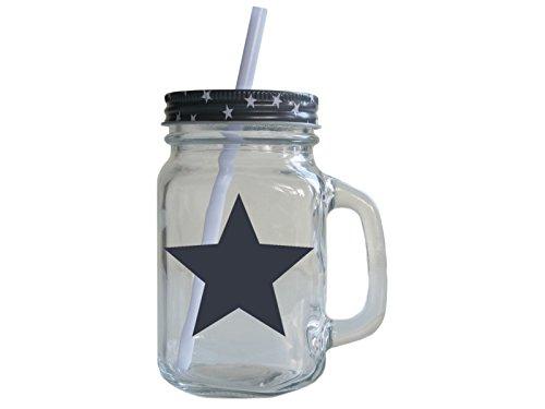 Retro Trinkglas mit Deckel und Strohhalm STERN * GRAU * Smoothie Henkelglas