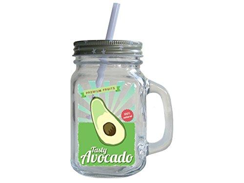 Retro Trinkglas mit Deckel und Strohhalm TASTY AVOCADO Smoothie Mason Jar