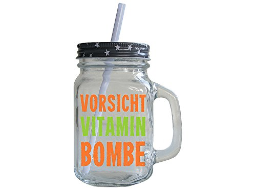 Retro Trinkglas mit Deckel und Strohhalm VORSICHT VITAMINBOMBE Smoothie