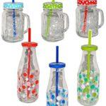 """Set _ Trinkflasche + Henkelbecher - Glas mit Deckel & Strohhalm - bunte Punkte & Farben - Trinkbecher als """" Milchglas """" Sommerglas - Flasche z.B. Limonade Erfrischung Sommer - Smoothie Becher Trinkglas Trinkflasche - Trinkgläser Einmachglas / Einweckglas - Glasbecher"""