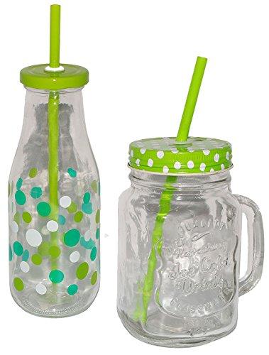 """Set_ Henkelbecher + Trinkflasche - aus Glas mit Strohhalm & Deckel - bunte Punkte & Farben - Trinkbecher als """" Milchglas """" Sommerglas - Flasche z.B. Limonade Erfrischung Sommer - Smoothie Becher Trinkglas Trinkflasche - Trinkgläser Einmachglas / Einweckglas - Glasbecher"""
