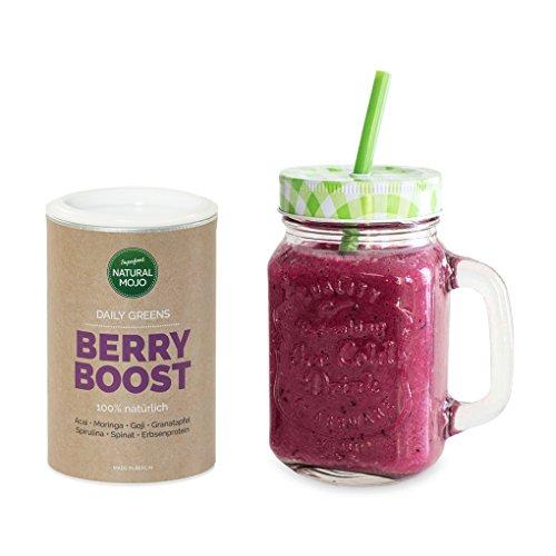 Superfood Pulver & Smoothie Glas Paket | Natural Mojo Berry Boost | Superfood Mix Best-Seller & Stylisches Glas für Säfte, Smoothies & Erfrischungsgetränke | Optisch hochwertig, ideal zum Anrichten oder als Dekoration | Hergestellt in Deutschland |