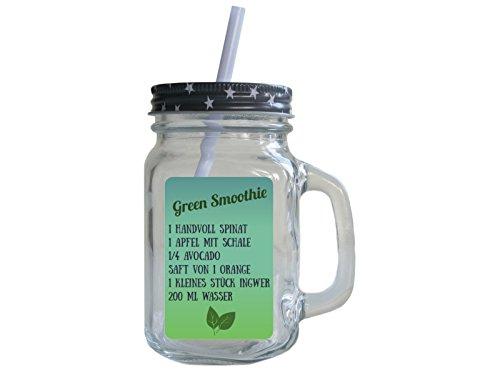 TRINKGLAS mit Deckel GREEN SMOOTHIE * SPINAT * Henkelglas Mason Jar Rezept Retro