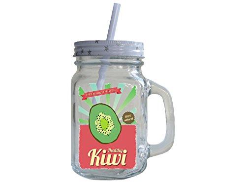 TRINKGLAS mit Schraubdeckel HEALTHY KIWI Obst Smoothie Geschenk Vintage Henkelglas mit Strohhalm Sommer