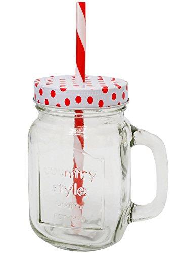 """Trinkglas / Henkelbecher - """" bunte Punkte - ROT """" - Glas mit Strohhalm & Deckel - 450 ml - Einmachglasoptik - für Kalte & Heiße Getränke - Sommerglas mit Henkel - gepunktet - z.B. Limonade Erfrischung Sommer - Smoothie Becher Trinkglas Trinkflasche - Insektenschutz - Trinkgläser Einmachglas / Einweckglas - Glasbecher - Trinkhalm - Glühwein / gepunktet Polka Dots"""