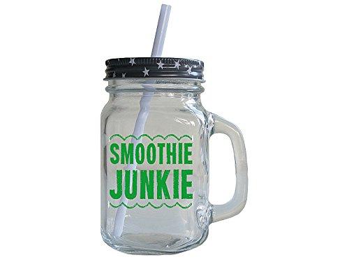 Vintage Retro Henkelglas SMOOTHIE-JUNKIE Trinkglas Geschenk