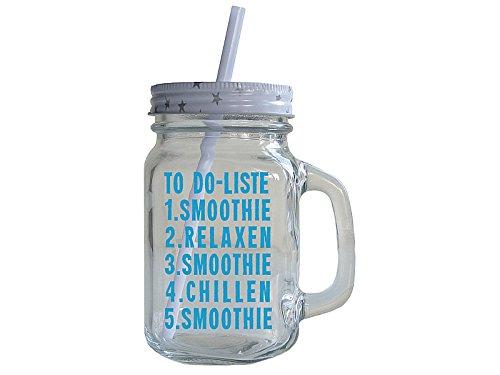 Vintage Trinkglas mit Henkel und Spruch TO DO LISTE SMOOTHIE Geschenk