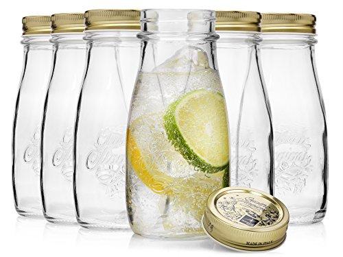 Bormioli Vintage Einmachgläser im Milchflaschen Design 'Quattro Stagioni' 6 teilig | Füllmenge 40 cl | Durchmesser 56 mm | Gesamthöhe 15,5 cm | Perfekt zum Servieren von Smoothies