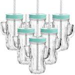 12er Set Trinkbecher Trinkgläser im Kaktus Motiv aus Glas - mit Deckel und Strohhalm - Trinkglas - Cocktailglas - Gläser - Füllmenge 350 ml - Türkis