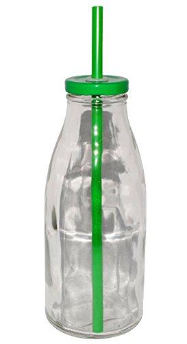 """2 Stück _ Glasbecher / Glas mit Strohhalm & Deckel - bunte Farben - Trinkbecher 550 ml / als """" Milchglas """" - Sommerglas - Flasche z.B. Limonade Erfrischung Sommer - Smoothie Becher Trinkglas Trinkflasche / Trinkhalmbecher Strohhalmbecher"""