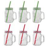 6 x Oramics Trinkgläser mit Deckel und Strohhalm, Vintage Mason Jar Glas mit Deckel und Strohhalm 500ml (Farbe Grün/Rot nicht frei wählbar)