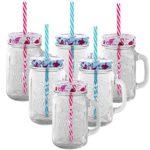 6er Set Trinkbecher Trinkgläser Flamingo 2 Desgins mit Deckel und Strohhalm - Trinkglas - Cocktailglas - Glas - Gläser - Füllmenge 450 ml