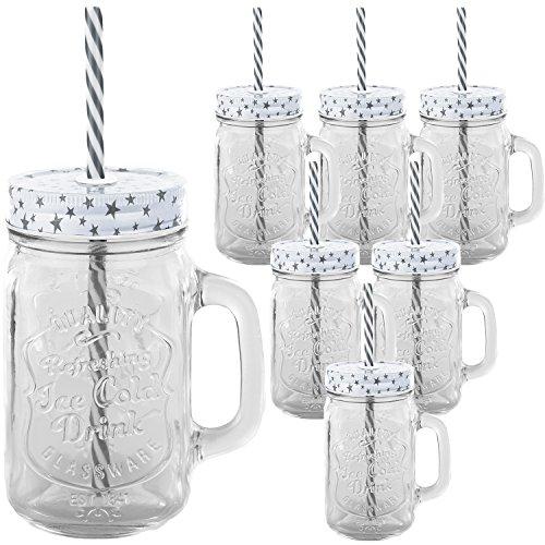 6er Set Trinkbecher Trinkgläser Sterne weiß Desgin mit Deckel und Strohhalm - Trinkglas - Cocktailglas - Glas - Gläser - Füllmenge 450 ml