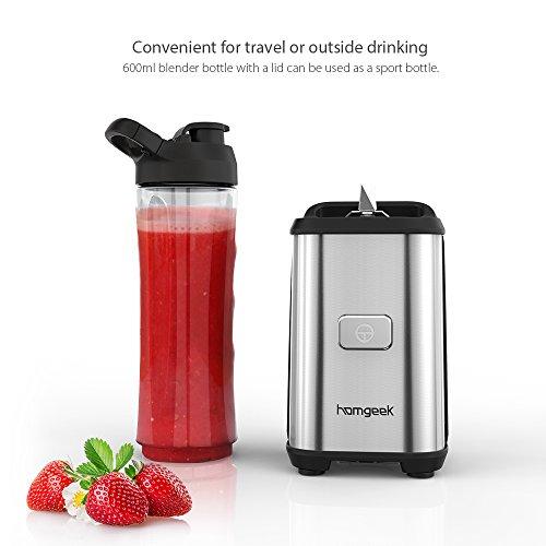 Homgeek Smoothie Maker 4 Edelstahlmesser Mini Blender, Mini Standmixer mit 2 600ml Reise Sport Flaschen BPA-freie Tritan-Trinkflasche, 350W
