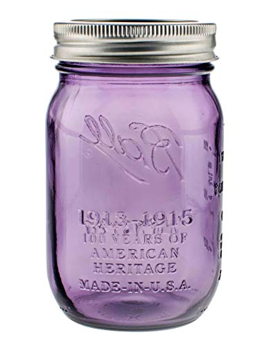 Mason Ball Gläser | 6er-Set | 470ml (16oz) | lilafarben (Purple) | Heritage Limited Edition | inkl. Deckel (Regular)