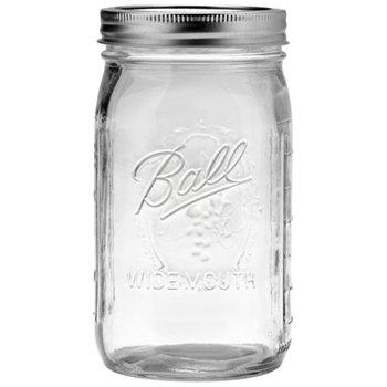 4 Ball Marmeladengläser mit Deckel, Obst-Design & weiter Öffnung, je 945 ml