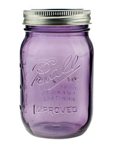 Mason Ball Gläser | 6er-Set | 470ml (16oz) | lilafarben (Purple) | Heritage Limited Edition | inkl. Deckel (Regular)
