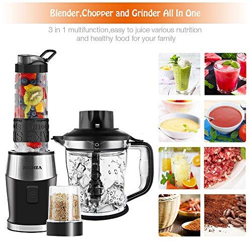 Mixer Smoothie Maker, Fochea Standmixer, 700 Watt Blender, 3 in 1 Multifunktion Smoothiemaker + Fleisch Zerkleinerer/Ice Crusher + Kaffeemühle,24000U/Min mit 570ml Sport-Flasche BPA frei Tritan