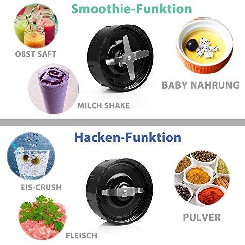 BESTEK Mix & Go Standmixer 1000 Watt Smoothie Marker Hochleistung Edelstahl Ice Crusher BPA-frei 2 Mixbecher(0,45L&1L) 6-Fach mit 2-Fach Edelstahlmesser Blender für Smoothies und Milchshakes 1 Liter