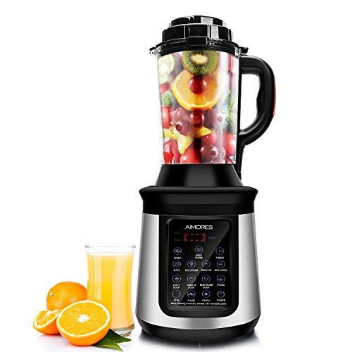 AIMORES Standmixer mit Kochfunktion Küchenmixer Smoothie mixer Soup maker Suppenbereiter, 8 Vorprogramme, 1.8L Glasbehälter, 8 Edelstahlklingen, LED Touchscreen, BPA Frei, CE/LFGB/RoHS, Silber