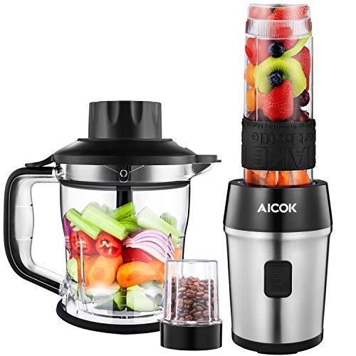 Mixer, Aicok Smoothie Maker, 700 Watt Blender, 4 in 1 Multifunktion Mixer + Chopper + Kaffeemühle + Standmixer, 24000U/Min, 600ml Sport-Flasche BPA frei Tritan, Edelstahl/Schwarz