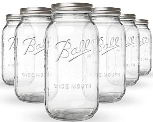 KoRo | Ball Mason Jar Wide Mouth | 6er Set | Vorratgläser | 1890ml | 64 oz | Luftdicht Verschließbar | Spülmaschinenfest