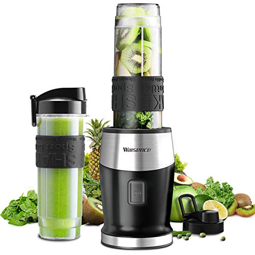 Smoothie Mixer, UPGRADED Willsence 700W Standmixer Smoothie Maker, Single Serve Mini Bullet Mixer mit 2 Tritan Sportflasche für Säfte, Shakes und Smoothie (Black)